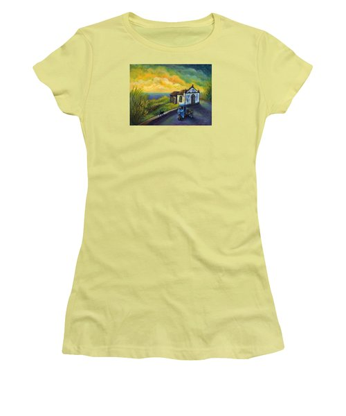 Memories Neath A Yellow Sky Women's T-Shirt (Junior Cut) by Retta Stephenson