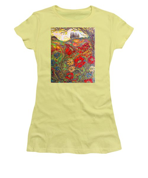 Women's T-Shirt (Junior Cut) featuring the painting Memories Of Tuscany by Rae Chichilnitsky