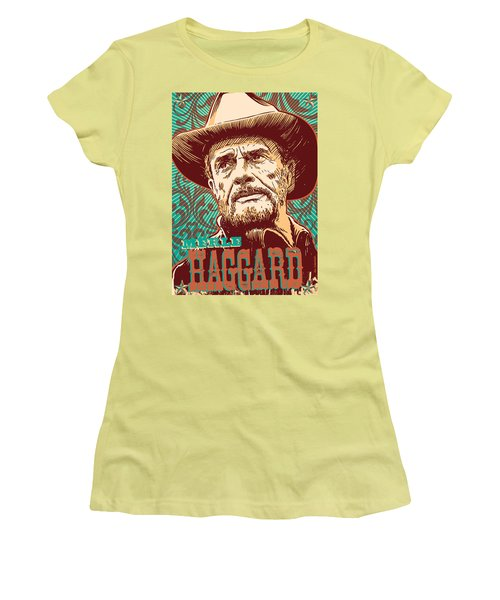 Merle Haggard Pop Art Women's T-Shirt (Athletic Fit)
