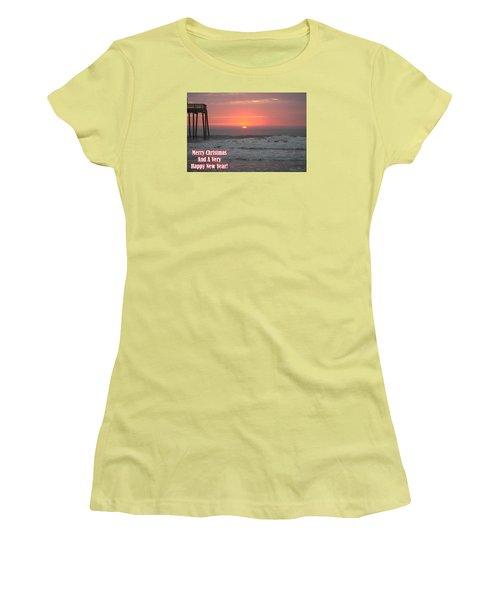 Merry Christmas Sunrise  Women's T-Shirt (Junior Cut) by Robert Banach