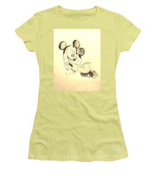 Mickey Minnie Cuddle Buddies - Sepia Women's T-Shirt (Junior Cut) by Scott D Van Osdol