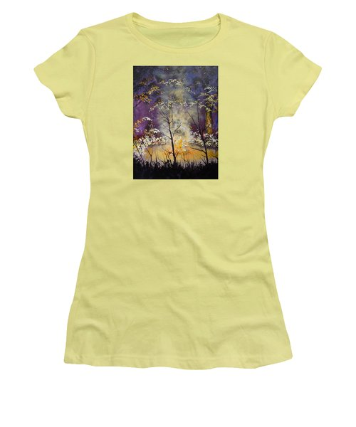 Women's T-Shirt (Junior Cut) featuring the painting Midnight Campsite by Dan Whittemore