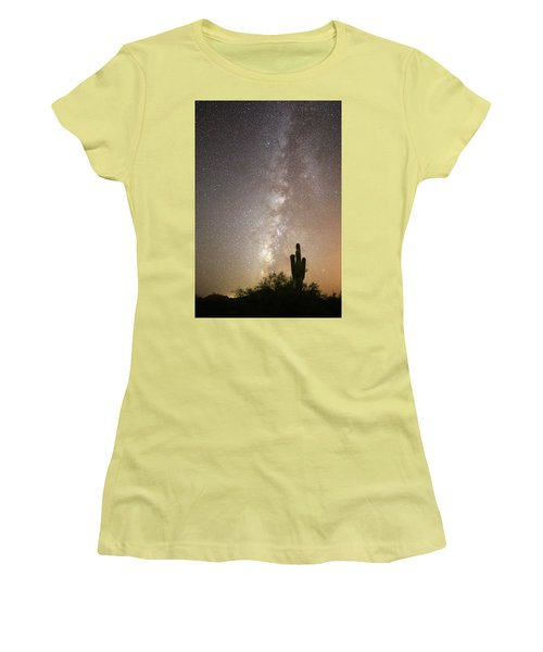 Milky Way And Saguaro Cactus Women's T-Shirt (Athletic Fit)