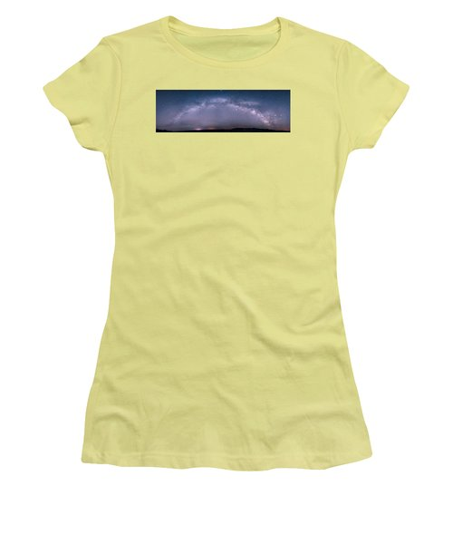 Milky Way Arch Over The Badlands Women's T-Shirt (Athletic Fit)