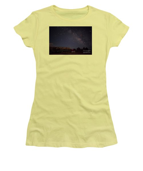 Women's T-Shirt (Junior Cut) featuring the photograph Milky Way Over White Pocket Campground by Anne Rodkin