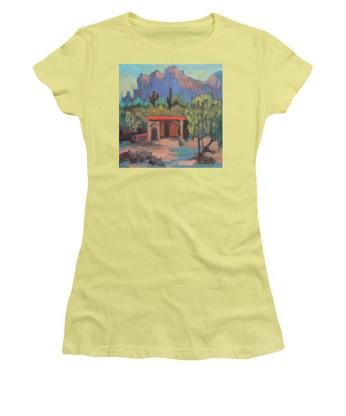 Women's T-Shirt (Junior Cut) featuring the painting Mining Camp At Superstition Mountain Museum by Diane McClary