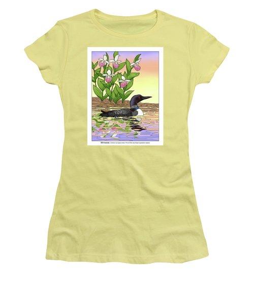 Minnesota State Bird Loon And Flower Ladyslipper Women's T-Shirt (Athletic Fit)