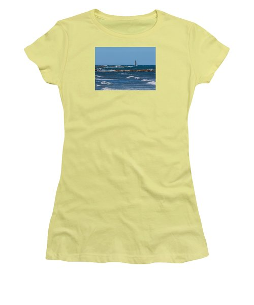 Minot Lighthouse Wave Crash Women's T-Shirt (Athletic Fit)