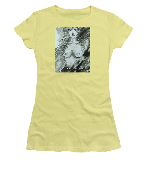 Women's T-Shirt (Junior Cut) featuring the painting Missing You by AmaS Art