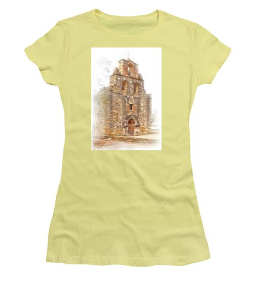 Women's T-Shirt (Junior Cut) featuring the photograph Mission San Francisco De La Espada In Faux Pencil Drawing  by David and Carol Kelly