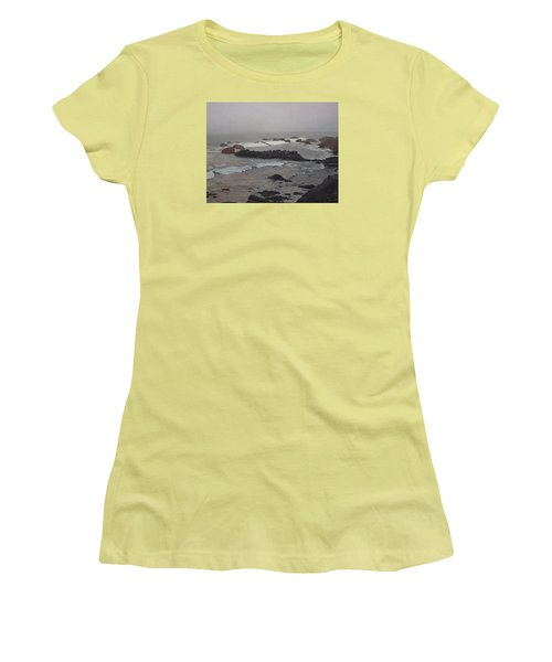 Misty Morning At Ragged Point, California Women's T-Shirt (Junior Cut)