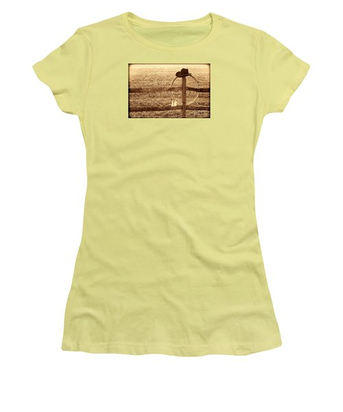 Misty Morning At The Ranch Women's T-Shirt (Junior Cut) by American West Legend By Olivier Le Queinec