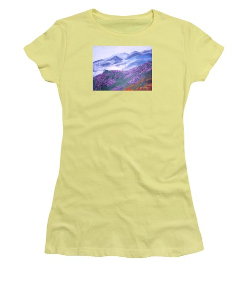 Women's T-Shirt (Junior Cut) featuring the painting Misty Mountain Hop by Donna Dixon