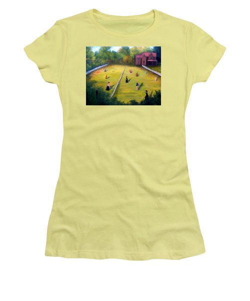 Women's T-Shirt (Junior Cut) featuring the painting Mixed Doubles by Gail Kirtz