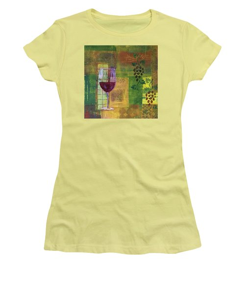 Mixed Media Painting Wine Women's T-Shirt (Junior Cut) by Patricia Cleasby