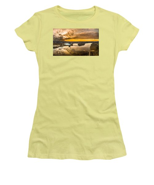 Women's T-Shirt (Junior Cut) featuring the photograph Mohegan Sun Sunset by Petr Hejl