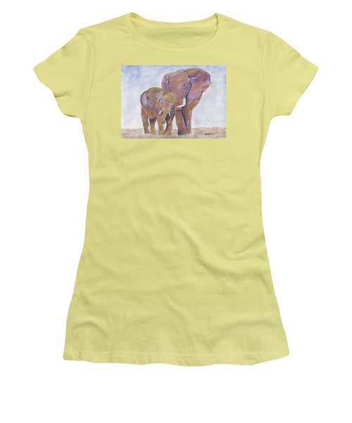 Women's T-Shirt (Athletic Fit) featuring the painting Mom And Me by Jamie Frier
