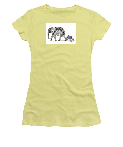 Momma And Baby Elephant Women's T-Shirt (Junior Cut) by Kathy Sheeran