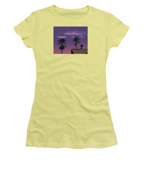 Women's T-Shirt (Junior Cut) featuring the digital art Mom's House by Walter Chamberlain