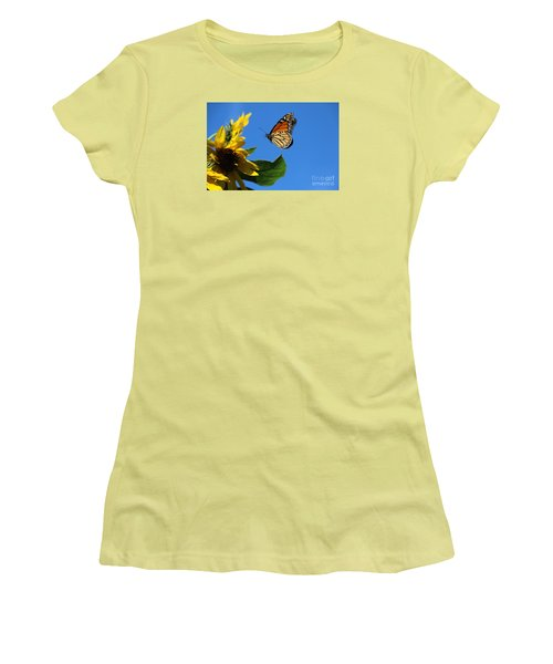 Women's T-Shirt (Junior Cut) featuring the photograph Monarch And Blue Sky  by Yumi Johnson