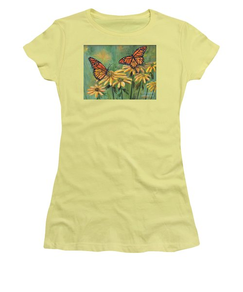 Monarch Butterflies Women's T-Shirt (Junior Cut) by Lou Ann Bagnall