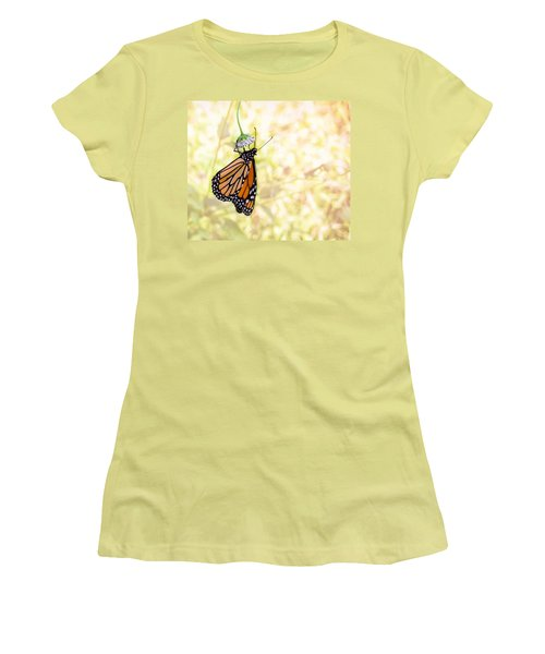 Monarch Butterfly Hanging On Wildflower Women's T-Shirt (Athletic Fit)