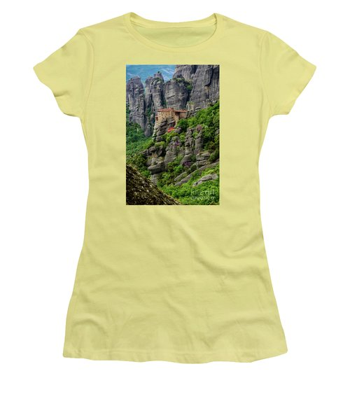 Monastery Of Saint Nicholas Of Anapafsas, Meteora, Greece Women's T-Shirt (Athletic Fit)
