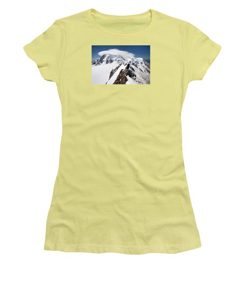 Mont Blanc And Ufo Women's T-Shirt (Athletic Fit)