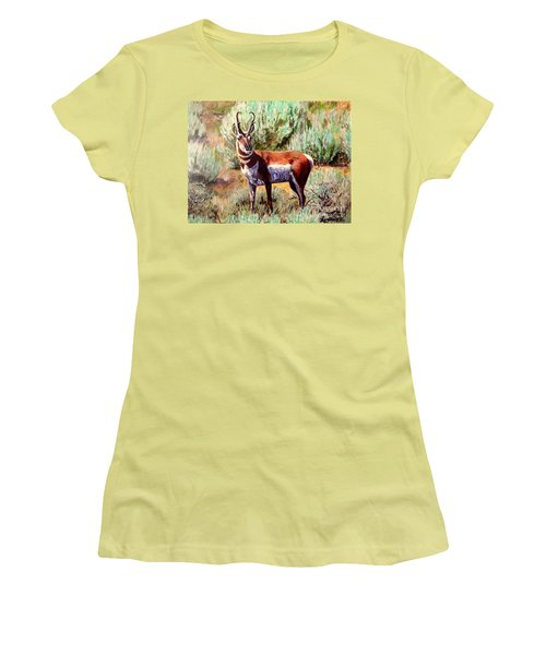 Montana Antelope Buck  Women's T-Shirt (Junior Cut) by Ruanna Sion Shadd a'Dann'l Yoder