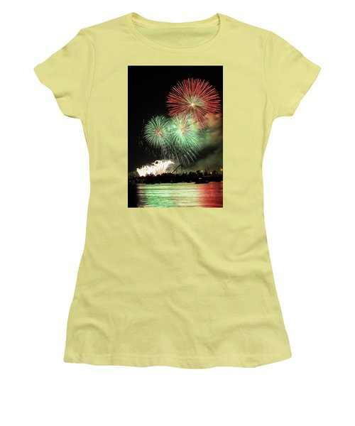 Montreal-fireworks Women's T-Shirt (Junior Cut) by Mircea Costina Photography
