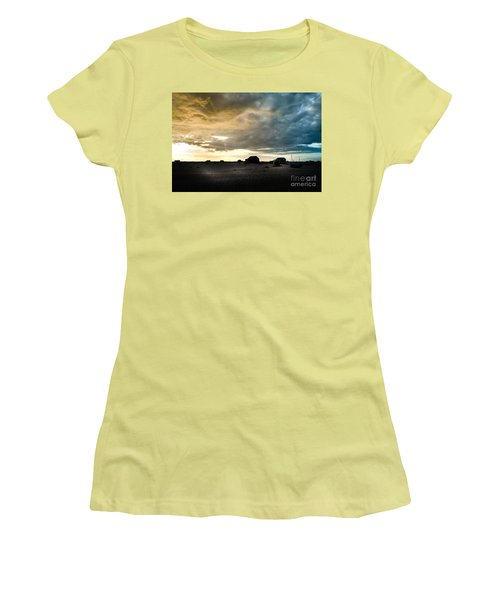 Moody Sky, Dungeness Beach  Women's T-Shirt (Athletic Fit)