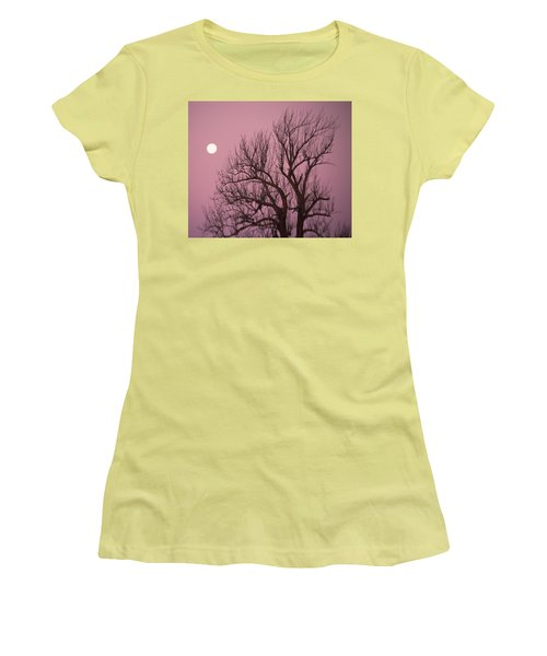Moon And Tree Women's T-Shirt (Junior Cut) by Sumoflam Photography