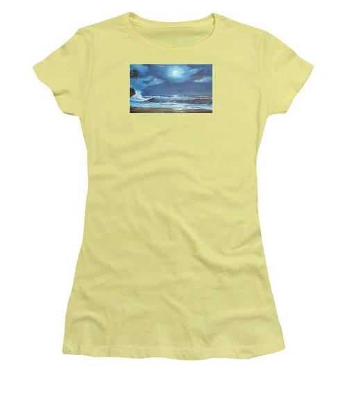 Moon Light Night In Paradise Women's T-Shirt (Junior Cut) by Lloyd Dobson