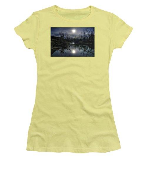 Moon Over Sand Creek Women's T-Shirt (Junior Cut) by Fiskr Larsen