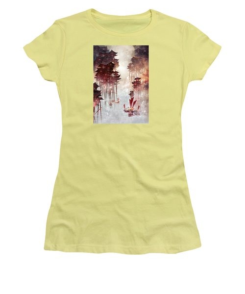 Women's T-Shirt (Junior Cut) featuring the digital art Moon Palace by Te Hu