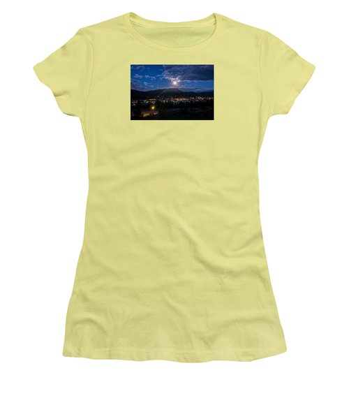 Moon Rising Over Breckenridge Women's T-Shirt (Athletic Fit)