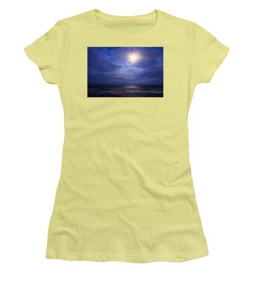Moonlight On The Ocean At Hatteras Women's T-Shirt (Junior Cut) by Joni Eskridge