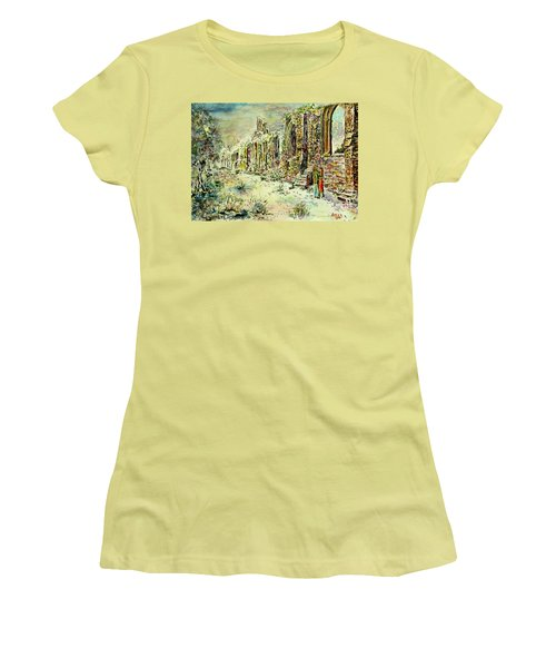 Women's T-Shirt (Junior Cut) featuring the painting Moonlit Footsteps On Holy Ground by Alfred Motzer
