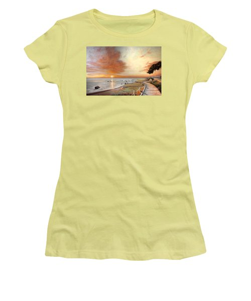 Women's T-Shirt (Junior Cut) featuring the painting Moonstone Cambria Sunset by Michael Rock