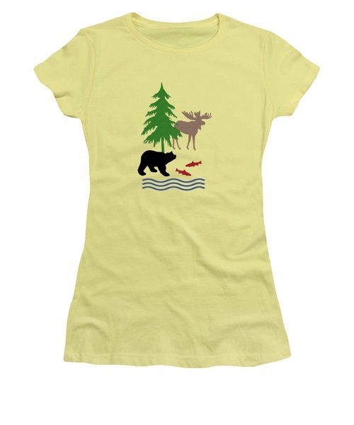 Moose And Bear Pattern Women's T-Shirt (Athletic Fit)