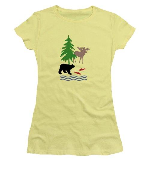 Moose And Bear Pattern Women's T-Shirt (Junior Cut)
