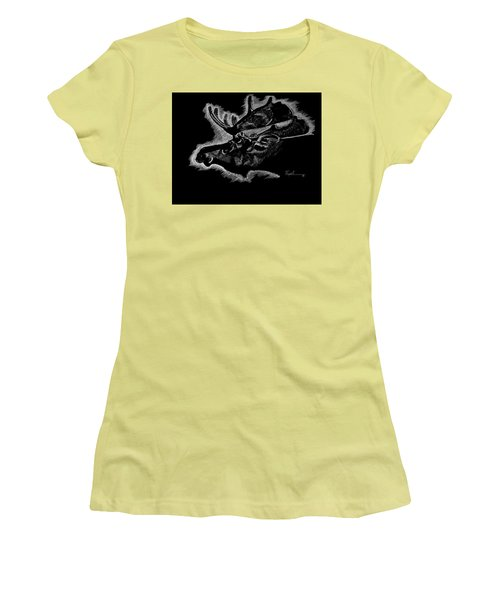 Moose Women's T-Shirt (Junior Cut) by Lawrence Tripoli