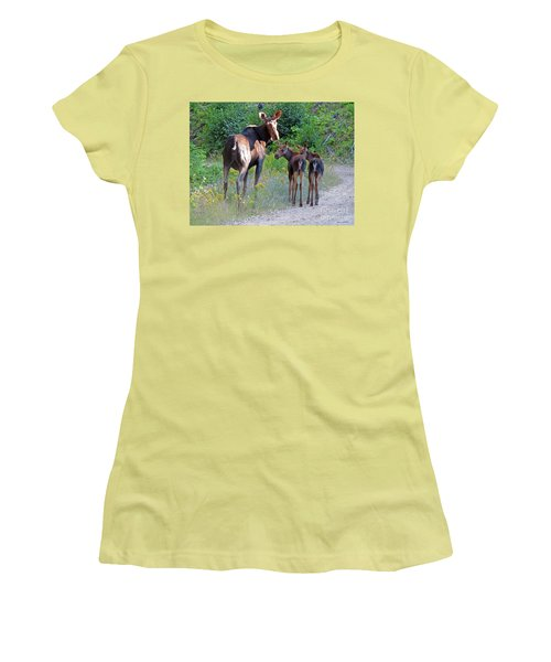 Moose Mom And Babies Women's T-Shirt (Junior Cut) by Cindy Murphy - NightVisions