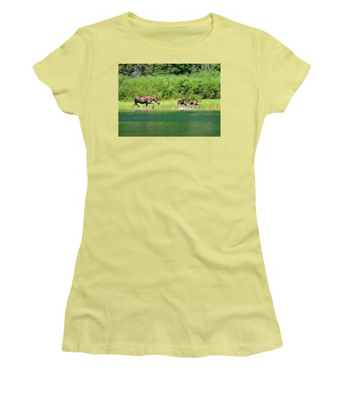 Women's T-Shirt (Junior Cut) featuring the photograph Moose Play by Greg Norrell