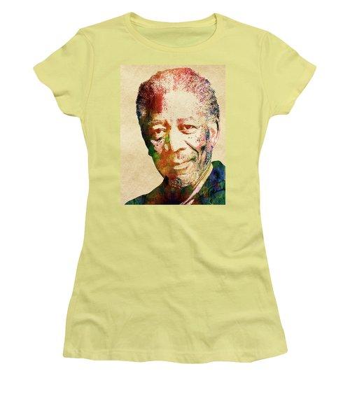 Morgan Freeman Women's T-Shirt (Junior Cut) by Mihaela Pater