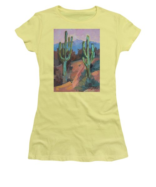 Women's T-Shirt (Junior Cut) featuring the painting Morning At Fort Apache by Diane McClary