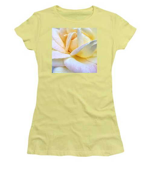 Morning Dew On A Pale Yellow Rose Women's T-Shirt (Athletic Fit)