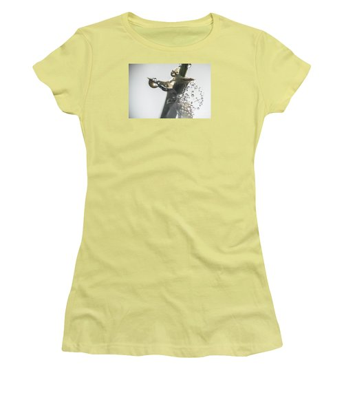 Women's T-Shirt (Junior Cut) featuring the photograph Morning Dew On A Web by Odon Czintos