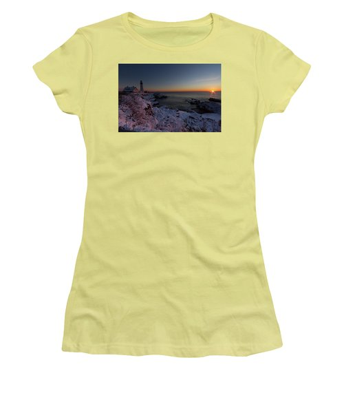 Morning Glow At Portland Headlight Women's T-Shirt (Athletic Fit)