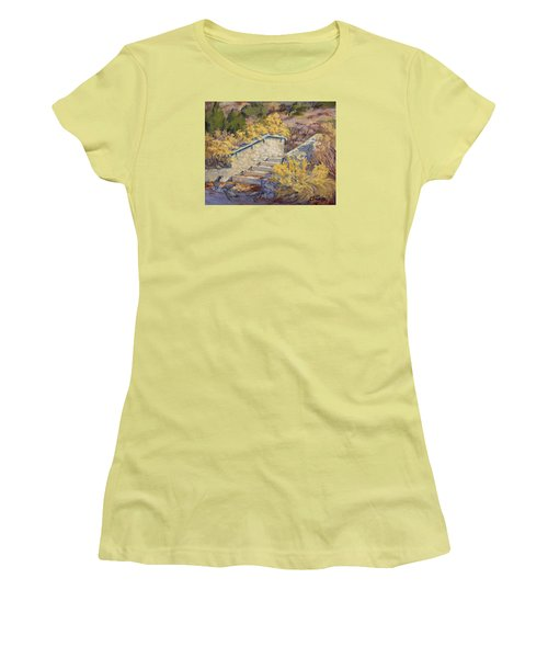 Morning Quail  Women's T-Shirt (Junior Cut) by Jane Thorpe